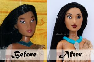 Disney Pocahontas Doll Repaint | Before - After by claude-on-the-road