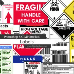 Labels Photoshop and GIMP Brushes by redheadstock