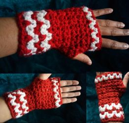 Red white sparkle gloves by The-Mad-Crafter
