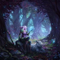 Night Elf Huntress by JJcanvas