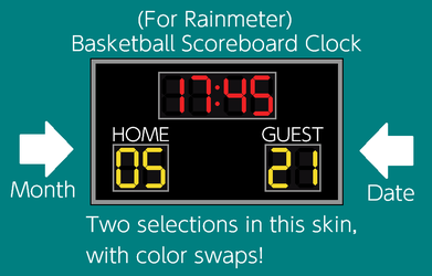 TheWolfBunny 20 2 Basketball Scoreboard Clock For Rainmeter By