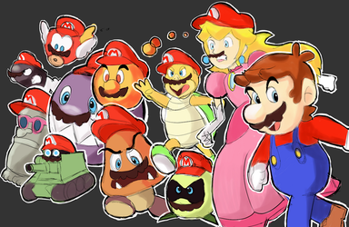 Super Mario Odyssey - Moustaches and red hats! by RamyunKing