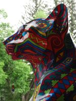 Head profile of 'Radiant Cat' sculpture by Crigger