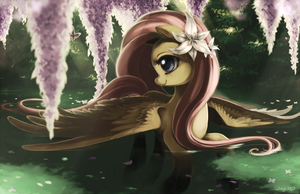 Fluttershy with lilacs by Jiayi