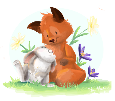 The fox and rabbit by StrixMoonwing