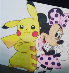 Pikachu and Minnie [Hunter and Mikaela's Birthday] by Ryonee