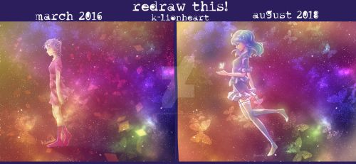 Redraw This! Galaxy Girl - 2016 vs 2018 by KP-Lionheart