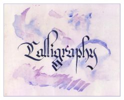 calligraphy in blue and purple by eniad