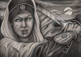 'Mai Bhago Ji' Graphite drawing by Pen-Tacular-Artist