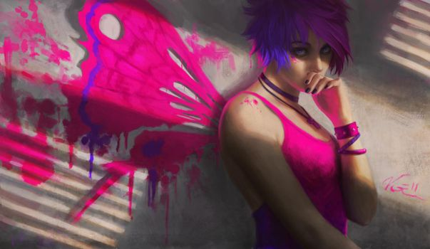 Magenta Moth by Viccolatte