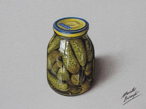 Glass jar of Pickles - Gherkins DRAWING by marcellobarenghi