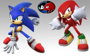 Sonic and Knuckles by MegaRed