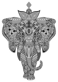 Elephant Zentangle Doodle Black and White by Bluedarkat