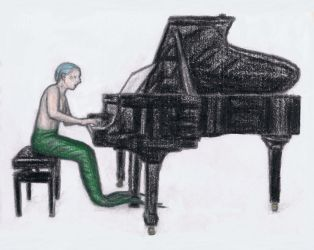 A mermaid on piano by gagambo