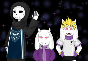Altertale Sans, Toriel and Asgore by Nynsanity