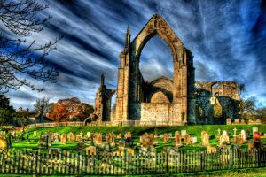Ruins at the cemetery HDR by ScorpionEntity