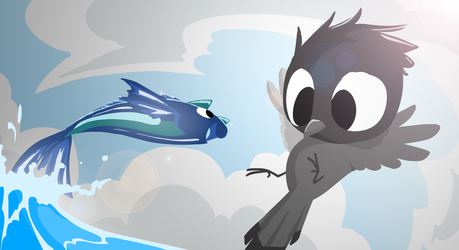 Bird and the catfish 3 [Wallpaper] by ApplexPie2