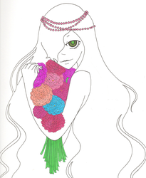Flowers, Pearls, and Green Eyes by MadnessXinsanity