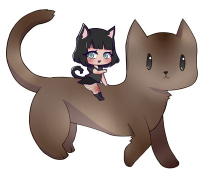 kat as a cat on her cat by TheErroredNoName