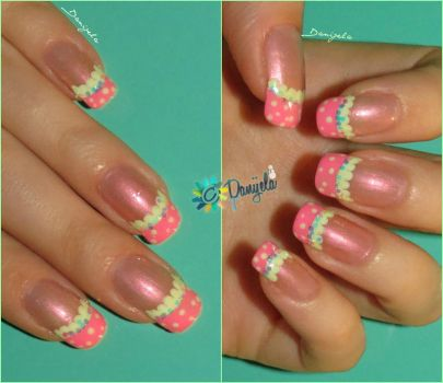 Girly Pink french and Polka dots by Danijella