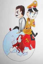 Chibi Hitler and Stalin by R7artist