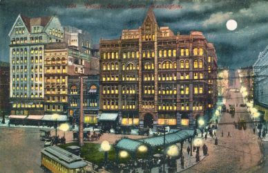 Night Scene Postcards - Pioneer Square, Seattle by Yesterdays-Paper