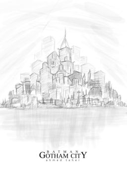 Gotham City Sketch by Ahmed-Taher