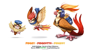Pidgey - Pidgeotto - Pidgeot by Cryptid-Creations