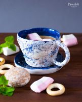 [Ceramics] Cup and saucer Blue night by miaushka-workshop