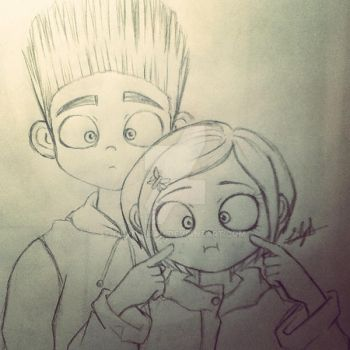 Norman and Coraline in process by Eilyn-Chan