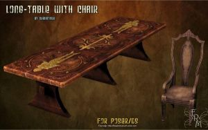 Long Table with chair (freebie) by Summoner by FantasiesRealmMarket