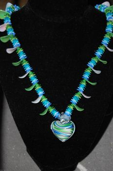 Blue and Green Heart Pendant by xmemoriesXofXnobodyx