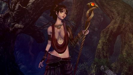 Morrigan in the woods by swampything
