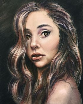 Girl biting lip, pastel pencil by leversandpulleys