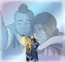 Sokka and Katara by lostangels22