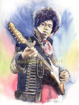 Jimi Hendrix, watercolour by MaddySwan