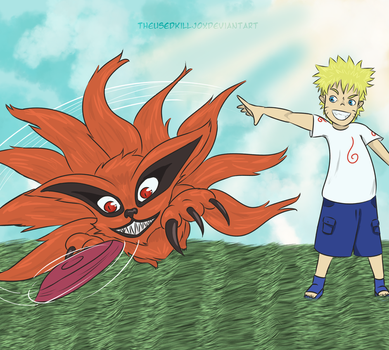 Request - Naruto and Kurama Play Frisbee! by TheUsedKilljoy