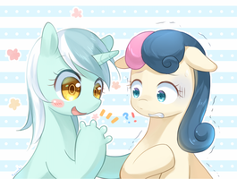 Lyra and Bon Bon by tsurukinoki