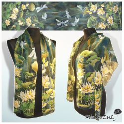 Silk scarf 'Waterlily and Dragonfly' FOR SALE by MinkuLul