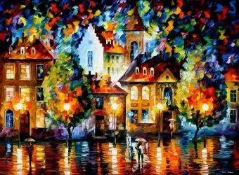 Luxembourg Night 2 by Leonid Afremov by Leonidafremov