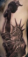 Black And Grey Tattoo Of Statue Of Liberty  by Remistattoo