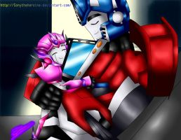 Optimus Prime and Kira sleeping by Sonytheheroine