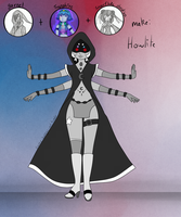 Garnet, snowflake obsidian and sapphire Fusion by MangoBunnies
