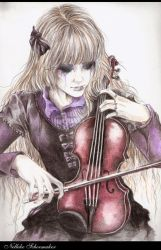 selfportret: me with violin 2 by girl-of-art