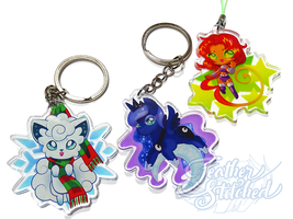 Acrylic Charm Col 1- Vulpix, Luna and Starfire by FeatherStitched