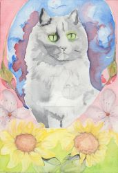 Cat with Flowers by MsSexyBetsy