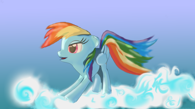 Rainbow Dash - Cloud stretch by Z-Free