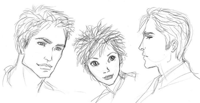 Ed, Ali, and Jazz Sketches by purplerebecca