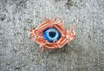 Copper Wire Wrap Glass Zombie Eye Hat Lapel Pin by Create-A-Pendant