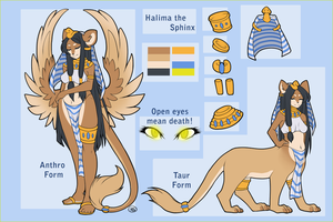 Halima the Sphinx Reference Sheet by MagicalZombie
